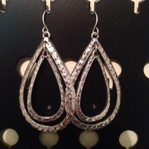 silver drop dangly earrings