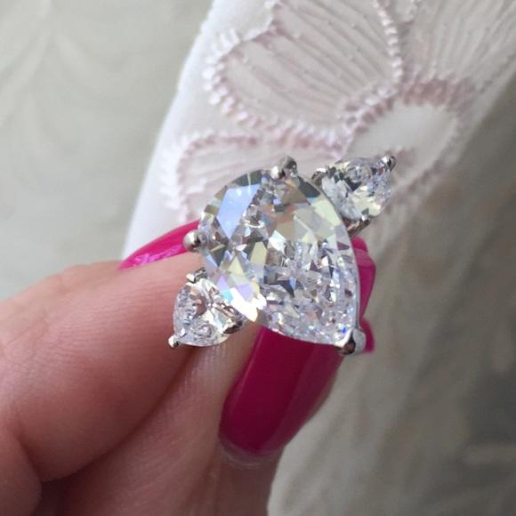 6 Carat Pear Cut Faux Diamond Ring 6 7 8 From Leoninus