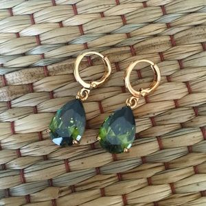 Moss Green Sparkling Crystal Earrings