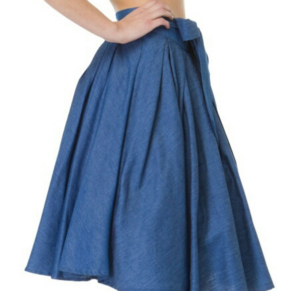 Flared Denim Skirt - Skirts