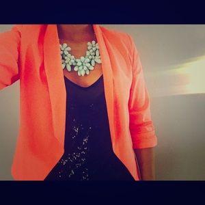 Jackets & Blazers - Ruched Neon Coral Blazer