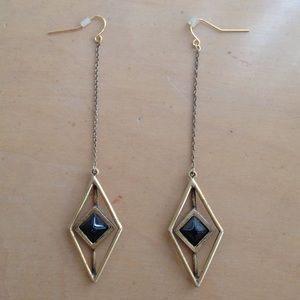 Black and gold diamond shaped earrings