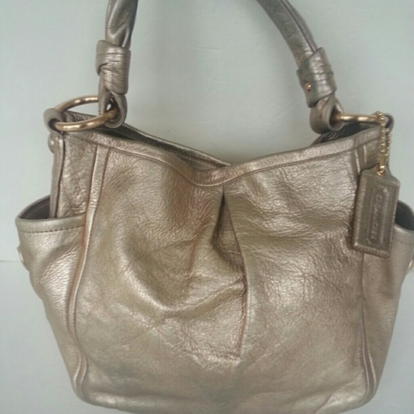 Coach Handbags - Coach Parker Rose Gold Metallic Leather Bag a36c509b34541