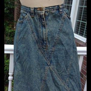 Vintage Denim Acid Wash Jean Long Skirt