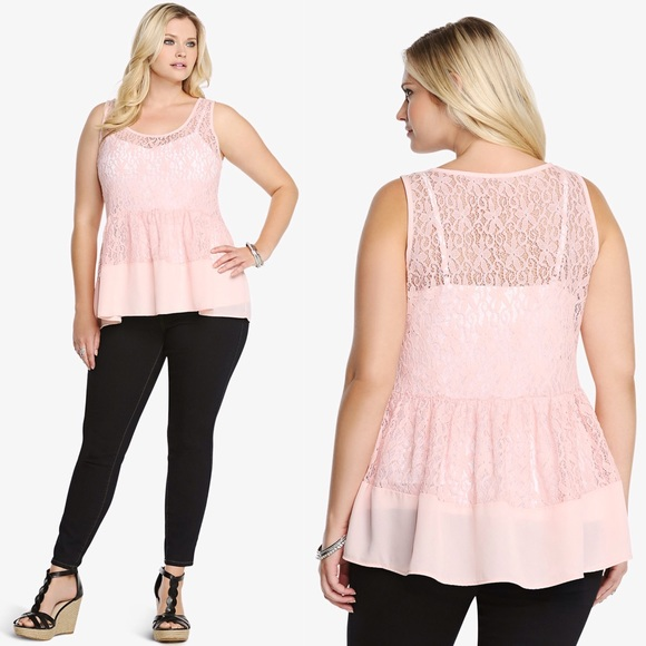 torrid - torrid lace chiffon peplum top plus size 2 nwt from