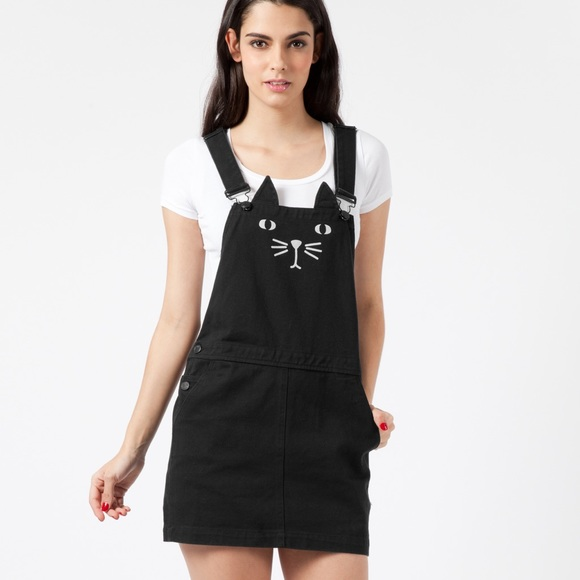 ba0ead2c1e7 Black cat print straps ladies overall dress skirt