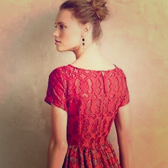 Anthropologie rubied lace dress