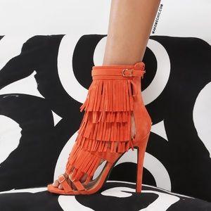 MakeMeChic Shoes - Orange Faux Suede Fringe Heels
