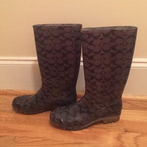 Coach Shoes - Coach Pixy Rain Boots Wellies Signature Print