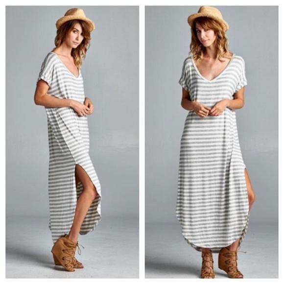 5a4c2298d1a Dresses   Skirts - Super Soft Gray Comfy Striped Chic Maxi Midi Dress