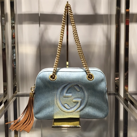 a6c3fce99 Gucci Bags | Soho Blue Denim Shoulder Bag | Poshmark