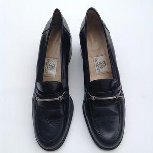 Easy Spirit black leather chunky heel comfort shoe