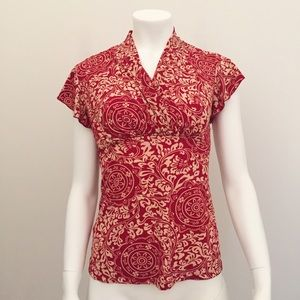 Tops - Red Cream Patterned Short Sleeve Top