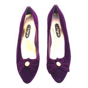 Vintage FAYVA plum velvet shoes leather sole 7.5