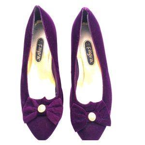 VINTAGE FAYVA plum velvet shoes retro costume 7.5