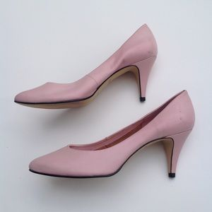 Pink leather pointed toe pumps shoes heels 7.5