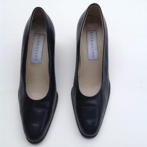Bandolino leather black chunky heel pumps shoes 7