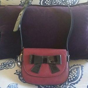 Melie Bianco burgundy leather handbag
