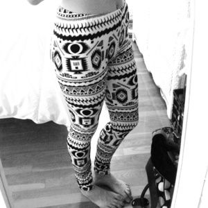 Pants - Black and white Aztec print leggings