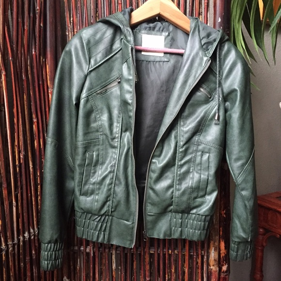 Jackets & Coats - Green faux leather jacket