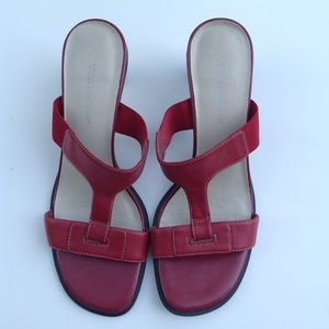 Red leather Worthington sandals slides shoes 6.5
