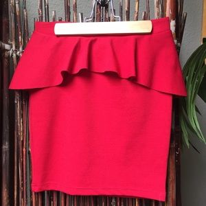 Adorable red peplum skirt
