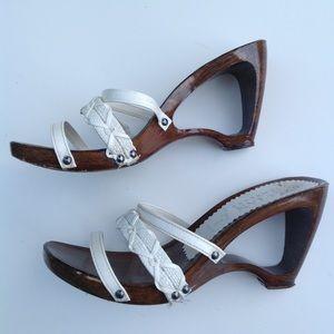 ITALIAN SHOEMAKER open heel cutout sandals white 7