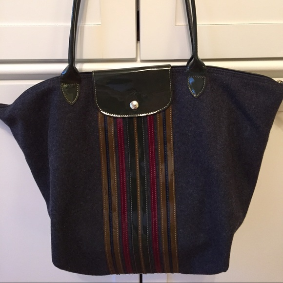 Longchamp Handbags - Large Longchamp Shoulder Tote with Patent Stripes 064aadc9d3c0b