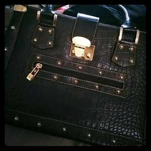 Accessories - Black/gold studded handbag