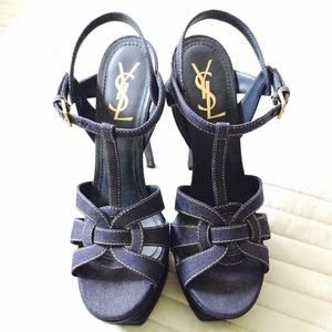Yves Saint Laurent Shoes - 100% authentic YSL Tribute denim sandal