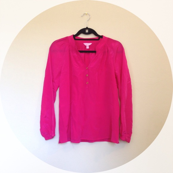 16f7f3276ad6be Lilly Pulitzer Tops - Lilly Pulitzer Exotic Orchid Elsa Silk Blouse