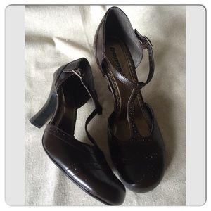 Bongo Chocolate Brown Janie T-Strap High Heels