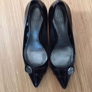 Patent leather Coach heels
