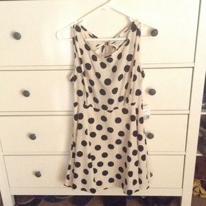 Forever21 size L cream with black polka dot dress