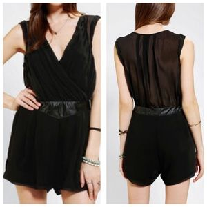 Silence + noise UO chiffon leather romper - Sz 2/S