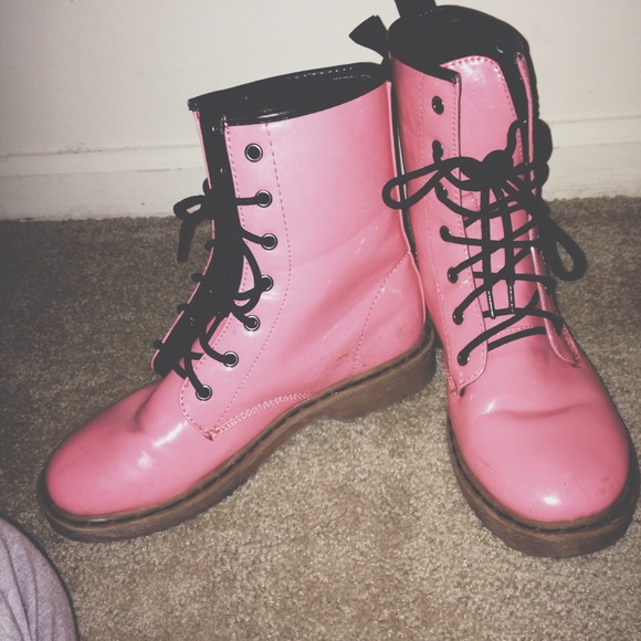 57% off Wet Seal Shoes - Wet Seal Pink Boot (Combat Boots) Pastel ...