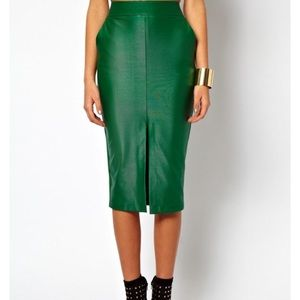 Green Asos wet look pencil skirt