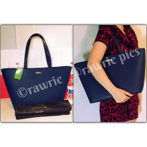 New Kate Spade large navy saffiano leather tote