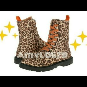 *Awesome FALL* leopard print combat boots NEW