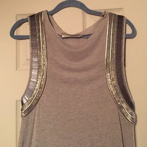 All Saints Tops - Light grey tank top tunic with silver hardware