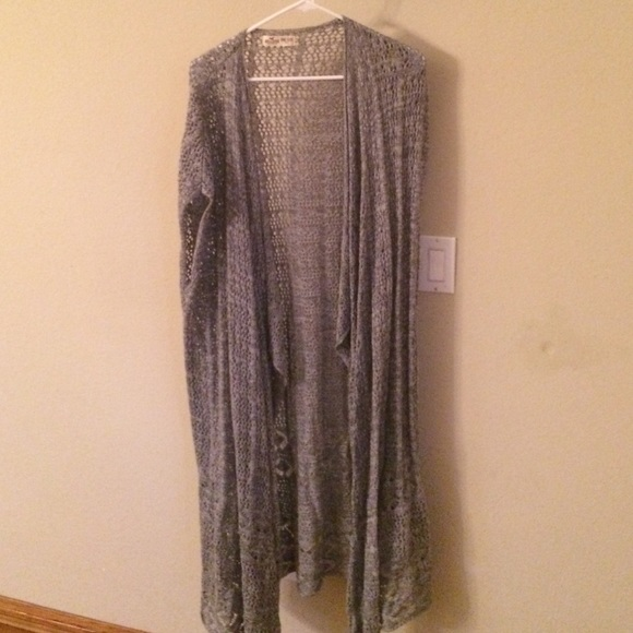 60% off Abercrombie & Fitch Sweaters - Long Light Grey Cardigan ...