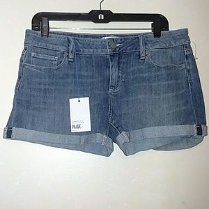 Paige Stretch Denim Jean Cuffed Shorts