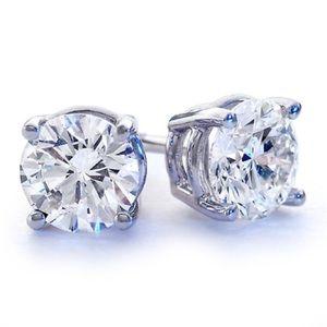 Jewelry - NEW STERLING SILVER 2ctw WHITE TOPAZ STUD EARRINGS