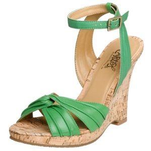 Carlos Santana Shoes - Carlos by Carlos Santana Ripple Green Cork Wedges