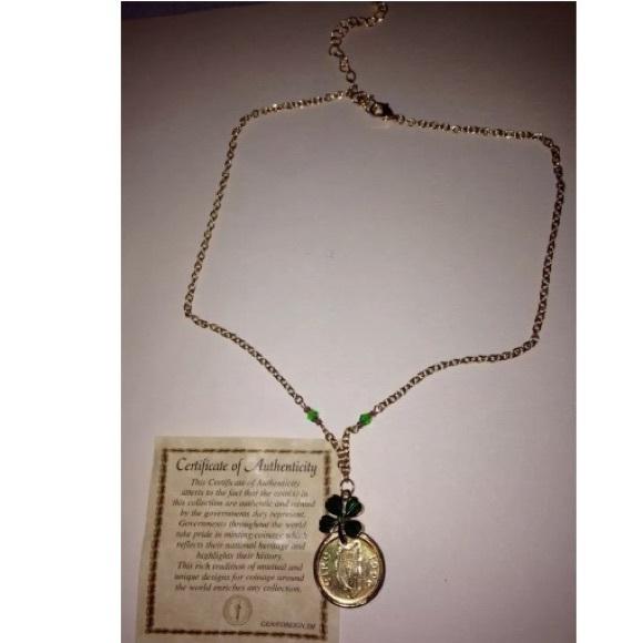 Handmade Authentic Irish Penny Gold Tone Necklace NWT