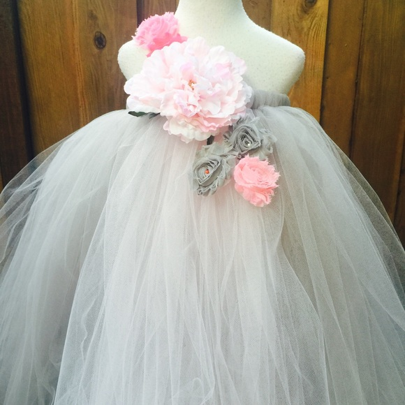 Blooms And Bugs Dresses Grey Pink Tutu Dress Grey Pink Flower Girl