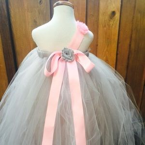 63dff4bb1 Blooms and bugs Dresses - Grey pink tutu dress - grey pink flower girl dress