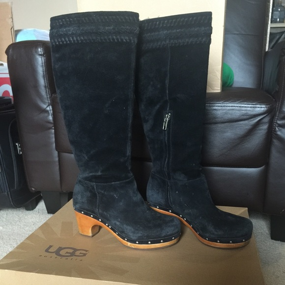 HOLD❗️UGG W ROSABELLA Black Suede Tall Clog Boots