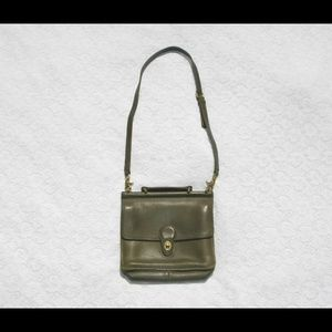 VINTAGE Coach Military Green Leather Briefcase Bag