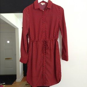 Red with Navy Pattern Dress